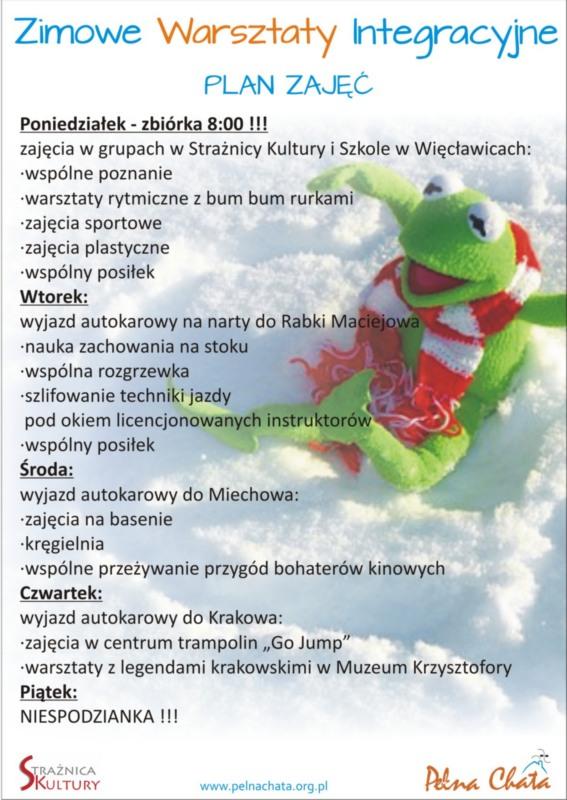 Program zimowych Warsztatów Integracyjnych Pełnej Chaty